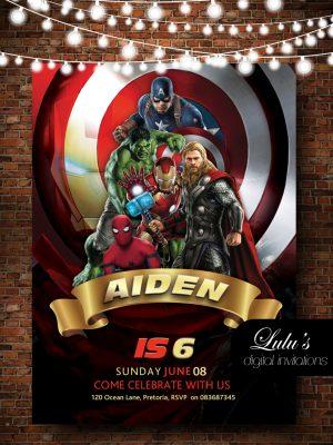 Avengers birthday invitation for kids