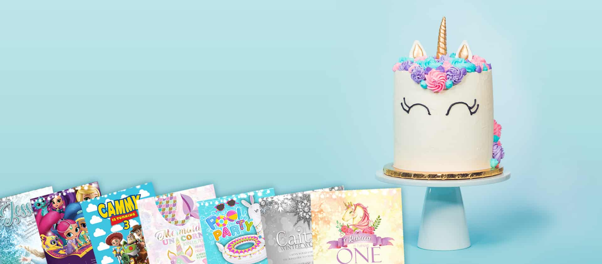 Childrens themed party invitations