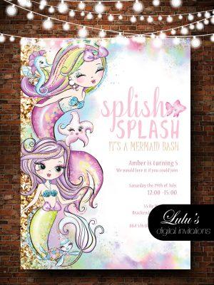Water Colour Mermaids Invitation