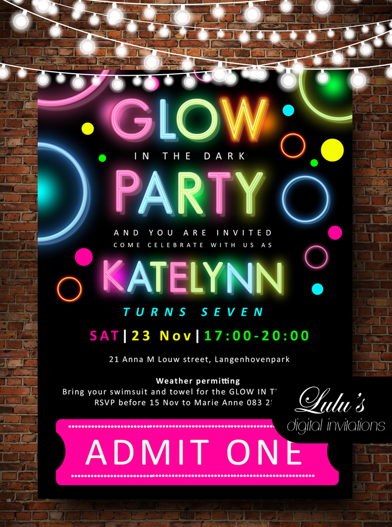 Glow Birthday Party Invites with Envelopes B103 Personalised Neon