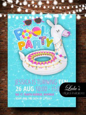 Pool Party Llama Invitation