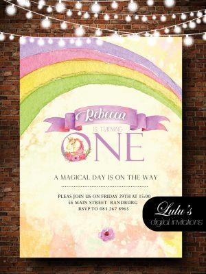 1st Birthday Unicorn & Rainbow Invitation