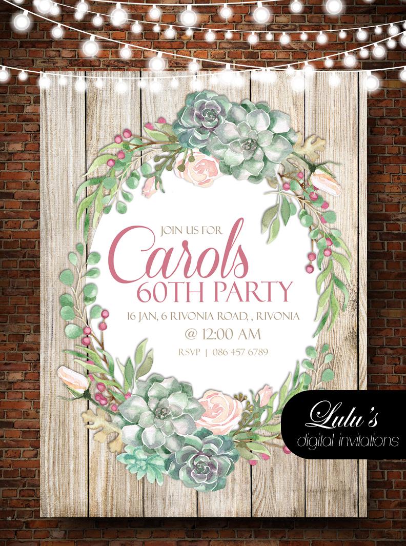 Succulent Wreath Invitation
