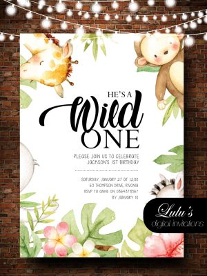 1st Birthday Wild One Invitation